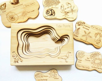 Tidepool layered puzzle, ocean wooden puzzle, montessori wooden puzzle, educational toys