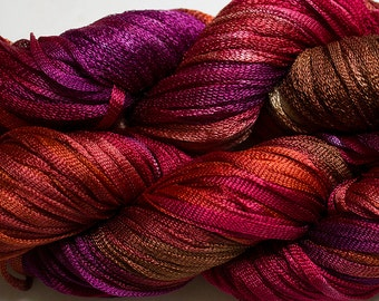 Moonbeam, Hand dyed ribbon yarn - Red Oak, 150 yds