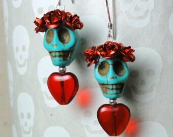 Dia de los Muertos Earrings - Turquoise Skull w/ Red Flowers & Glass Heart