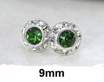 Dark Moss Green Studs, Green & Silver, Swarovski, Rhinestone Stud Earrings 9mm Crystal Studs, Dark Green Earrings, Halo Studs