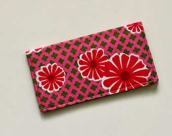 Pink Daisy Checkbook Cover, Pink Floral Checkbook Case, Fabric Checkbook Holder