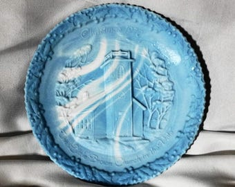 Lot of 12 Fenton Blue Satin/Custard Plates from Christmas in America 1970 to 1981