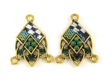 Blue Green White Boho Earring Finding, Kente Tribal Fabric Textile Chandelier Connector Link Jewelry Component  KT1-11 2