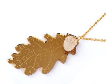 Gold acrylic oak leaf necklace - handmade laser cut jewelry