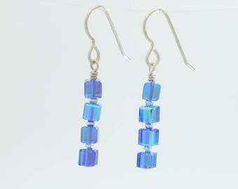 Sapphire blue swarovski crystal long dangle earrings in sterling silver for september birthstone gift wedding jewelry set or bridal party