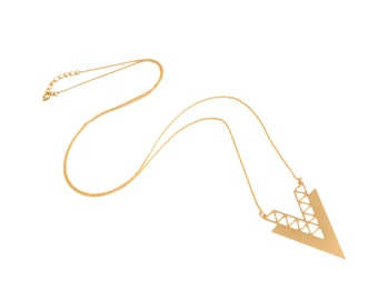 Gold Chevron Necklace, Chevron Necklace, Long Necklace, Large Triangle Necklace, Geometric Necklace, Tribal Boho Jewelry
