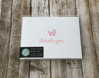 Baby Girl Expecting Thank you Folded Notecards - Pink Rattle Onesie Stroller Notes - Set of 12