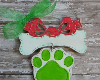 Dog Bone Ornament - painted wood ornament - personalized Christmas ornament - dog lover gift - paw print - dog ornament - paw print ornament