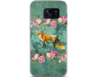 Fox on Green Damask Print with Pink Watercolor Roses Cell Phone Case  Samsung Galaxy S7, S8, S8+, S7 Edge