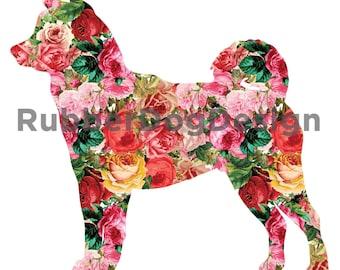 SIBERIAN HUSKY Vintage Flower Design - Digital Floral Clip Art Graphics for Personal or Commercial Use