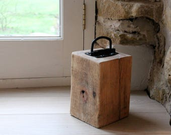 Solid Oak Doorstop with black metal Handle, Rustic, Housewarming, Moving in, Gift, Present