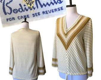 1970s Metallic Chevron Sweater — Small