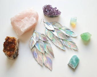 Womens Gift, Feather Earring, Bohemian Jewelry, Boho, Boho Bride, Opal, Feathers, Bridal Earrings, Boho style, Holographic, Hippie Jewelry