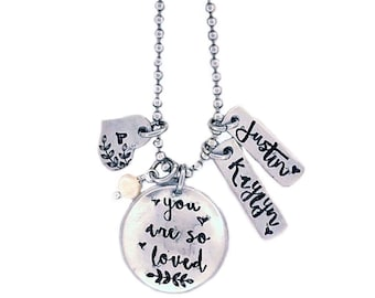 You are so loved necklace • mom necklace • kids names • mama • godmother gift grandmother gift • special aunt • name charms