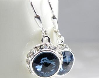Sapphire Swarovski Crystal Earrings, Blue, Rhinestone, Bridesmaid, Wedding, Bridal Party, Handmade Jewelry, September Birthday, Birthstone