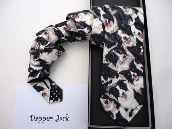 Collie dog print tie, Sheep Dog tie, ties for men, men's ties