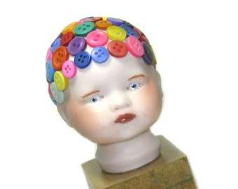 Original Mixed Media Art Doll, OOAK Button Art, One of a Kind Mixed Media Art, Colorful Assemblage Art Object, Whimsical Decor