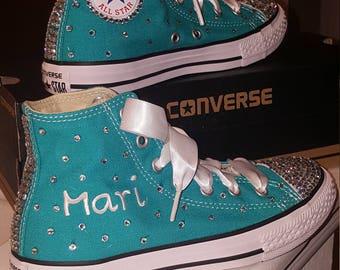 Hi-top converse bling sneakers