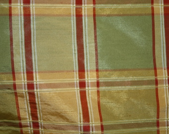 "Silk Fabric, 100 % silk, 54"" wide, Checkered Print , sold by the yard. Free Shipping in USA"