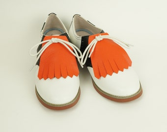 Orange Kilties for Womens Golf Shoes, Saddle Shoes Lindy Hop Shoes Ladies Golf Shoes Golf Gifts for Wome, Shoes Accessories Golf Accessories