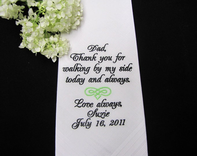 Wedding Handkerchief Father of the Bride Personalized, Custom Wedding Handkerchiefs, Embroidered Hankies, Custom Hankys