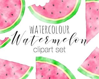 Watermelon Clipart Set, Watercolour Watermelon Clip Art, Watercolor Illustrations, Summer Fruit Clipart Pictures, Watermelon Designs