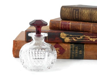 Antique Perfume Bottle American Cut Crystal with Red Glass Stopper Romantic Gifts