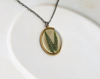 Fern Necklace, Real Pressed Leaf Jewelry, Resin Jewelry, Botanical Jewelry, Naturalist Gift, Woodland Necklace