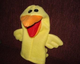 Jaune oiseau marionnette à main mobile bouche