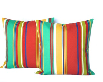 "Two outdoor striped pillow covers, red pillow, green pillow  pillow covers, 14"" 16"" 18"", 20"", throw pillow, decorative pillow, home decor"