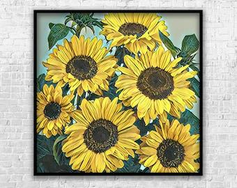 Sunflower Bouquet, Art Print, Printable Art, Digital Art, Instant Download, Wall Decor