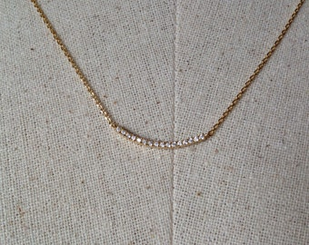 Pavé Bar Necklace in Gold, 14k Gold plated, Dainty Bar Necklace