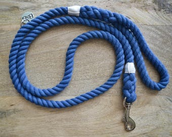 Cotton Rope Dog Leash - Blue | Dog Leash | Dog Lead | Rope Dog Leash | Hand Dyed Cotton Rope | Pet Accessory | Dog Lover Gift |