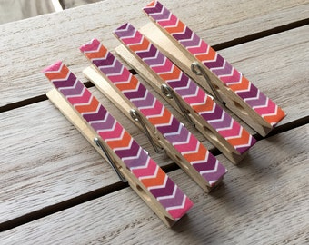 Pink and Purple Clothespin Magnets, Striped Fridge Magnets, Decorated Clothespins, Purple and Orange Organizing Clips