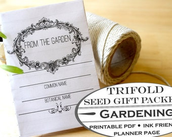 Trifold Seed Packet for Gift Giving - Printable Garden Planner Page for Garden Journals