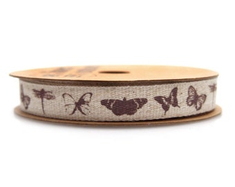 Butterflies Dragonflies Cotton Ribbon, 5/8-Inch, 10 Yards