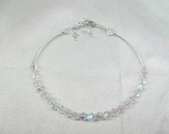 Girls Crystal Bracelet Cross Bracelet Baby Bracelet Girls Bracelet Clear AB Crystal Bracelet Adjustable Sterling Silver BuyAny3+1 Free