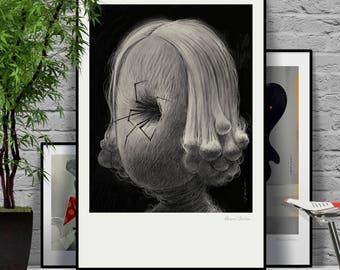 Scary movie. Original illustration art poster giclée print signed by Paweł Jońca.