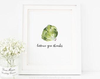 Lettuce Give Thanks Kitchen Decor Let Us Give Thanks Printable Wall Art Kitchen Printable Watercolor Vegetable Print Kitchen Veggie Print