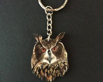 Wooden OWL keychain