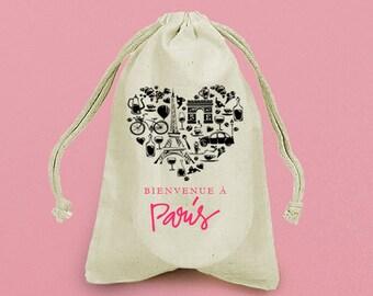 ISABELLA Bienvenue à Paris (Welcome to Paris) 5 x8 Custom Muslin Drawstring Favor Bag / Hangover Kit