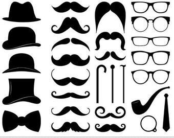 Mustache Clipart Digital Mustache Clip Art Hipster Clipart Vector Mustache Silhouette Gentleman Clipart Invitations Retro Party Printable
