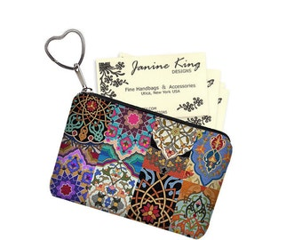 Colorful Boho Business Card Case Key Chain Key Fob Small Zipper Pouch Coin Purse Bridesmaid Gift  bohemian asian patchwork fabric  RTS