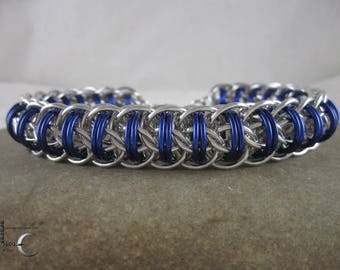 Chainmaille Bracelet - Fire Wyrm Chainmaille Bracelet in Royal Blue and Silver Anodized Aluminum -steampunk chainmaille bangle
