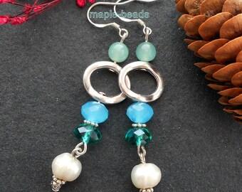 """2"""" Dangle greenAgate, blue Agate, gemstone beads, white fresh water Pearls  handmade Earrings"""