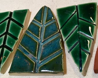 Cathedral Leaves Handmade Ceramic Mosaic Tile Pack