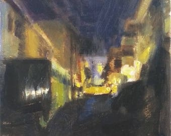 Night Alley Los Angeles Cityscape 6x6 Nocturne Dark Landscape Abstract Oil Painting Contemporary Impressionist Nightscape by Daniel Peci Art