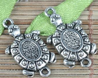 22pcs tibetan silver color textured turtle design charms EF0310