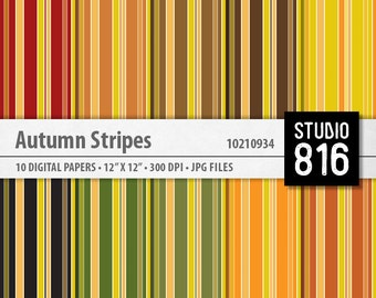 Autumn Stripes - Digital Paper for Scrapbooking, Cardmaking, Blogs, Papercrafts #10210934