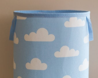 Toy Storage, Nursery Fabric Basket, Storage Bin, Toy Basket, Nursery Storage, Blue, White, clouds